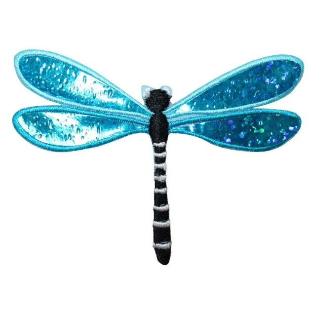 ID 1655A Sparkle Wing Dragonfly Patch Garden Bug Embroidered Iron On Applique