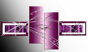 LARGE-PLUM-PURPLE-ABSTRACT-CASCADING-CANVAS-PICTURES-MULTI-4-PANEL-57-034-146-cm