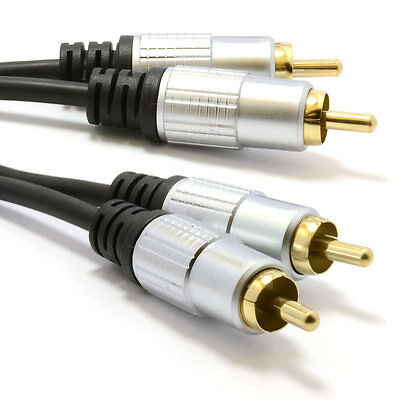 2m Pro Audio Metal 2 x RCA Phono Plugs to Plugs Cable Lead Gold [006944]