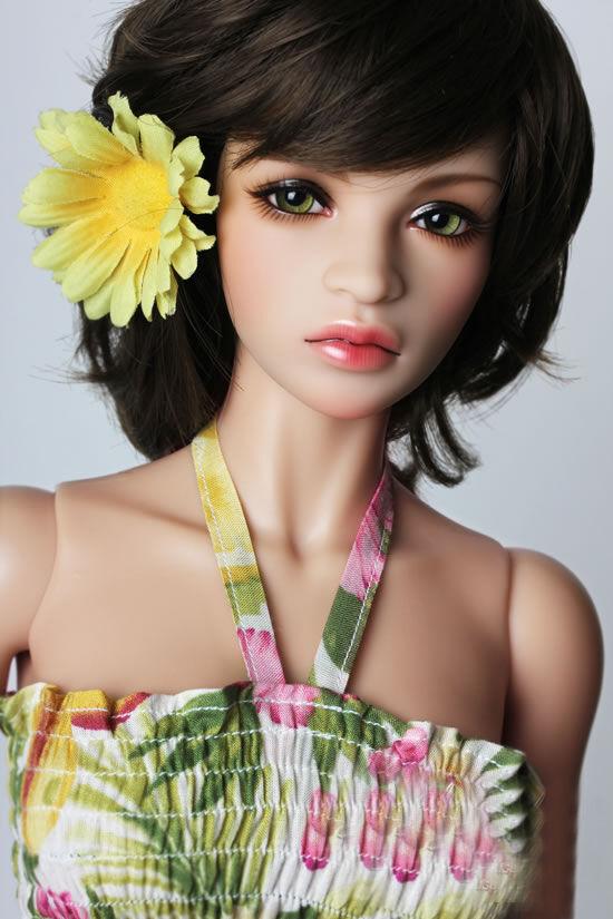 Figuras De Resina muñeca de BJD 1 3 Niña Adorable libre de los ojos y la piel frente -- bronceado ligero