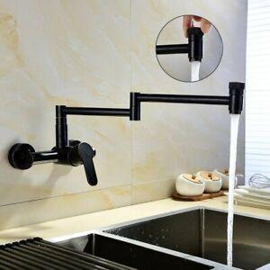 Pot Filler Faucet Commercial Kitchen Faucet Wall Mount Oil Rubbe Bronze Folding Ebay