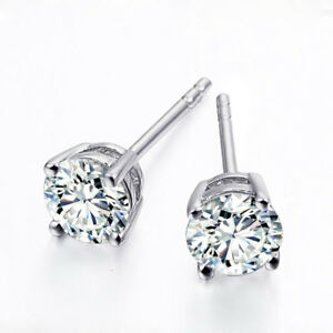 6086d3dfb 1Ctw White Moissanite Round 925 Sterling Silver 4 Prongs Push Back ...