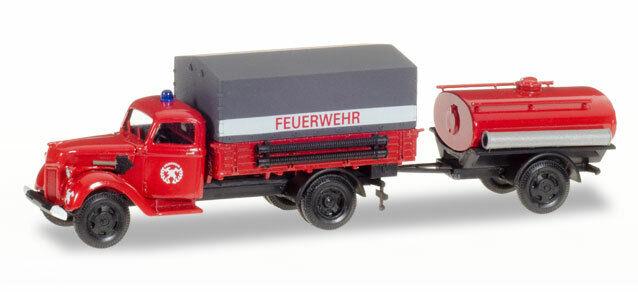 Herpa 307956 Ford V 3000 Planen-LKW mit Tankanhänger  Feuerwehr  1 87 (H0)