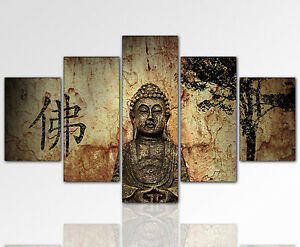 Details zu 170x80cm Wandbild Buddha Feng Shui 5 teilig riesig goldbraun XXL  Designbild