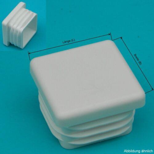 10 Lamellenstopfen 25x25 WEISS für WS 1,1-2,5 mm Vierkant Endkappen Kappe PE
