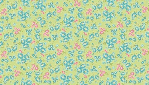 Tissu 100/% Coton MAKOWER Tea Party Floral Vert 1648//G