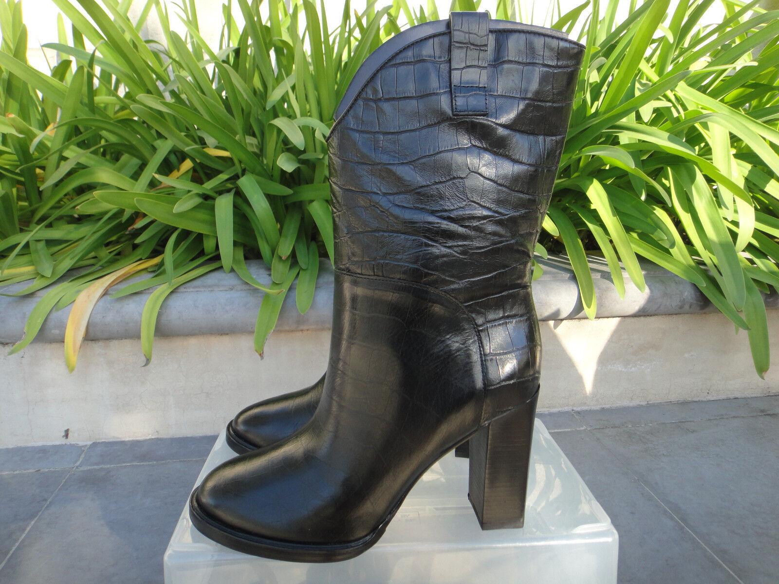 Sigerson Morrison ELISA, Black Croc Embossed Pull On Mid Boot, Wmns US Size 7