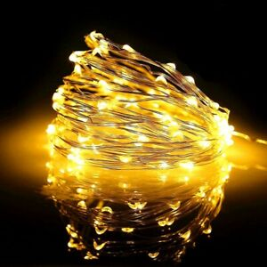100 LED Warm White Mains Plug In String Fairy Lights 8 Function Xmas Tree Decor