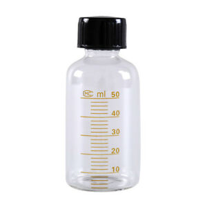1pcs-50ml-Scale-lab-glass-vials-bottles-clear-containers-with-black-screw-cap-BP