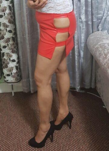 PVC Latex Stretch Mini-Jupe Femme Femmes Filles Découpe bretelles jupe courte