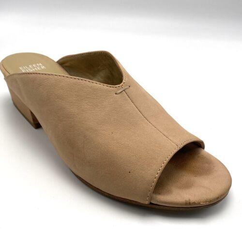 Eileen Fisher Katniss Suede Block Heel Mules Size