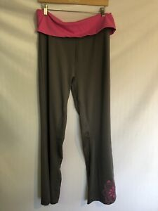 Details about Adidas Pants Gray Pink Size Large Fold Over Waist L Cozy Workout Yoga