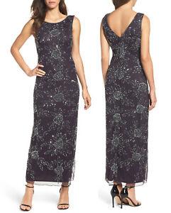 977c11985b96 Image is loading Pisarro-Nights-Beaded-Mesh-Gown-Sleeveless-Maxi-Dress-