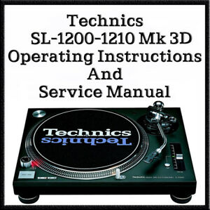 Details about Technics SL-1200 - 1210 Mk3D Operating instructions & Service  Manuals (DOWNLOAD)