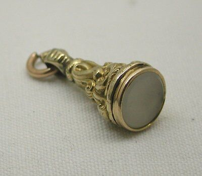 A Lovely Antique Gold cased And Chalcedony Agate Seal Shaped Fob