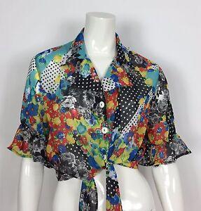 Fanci-fully-maglia-vintage-multicolore-retro-M-44-camicetta-estiva-usata-T1987