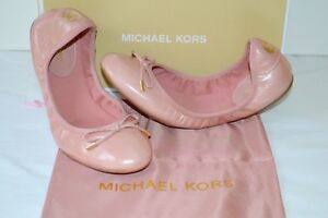 New $99 Michael Kors City Ballet Embossed Leather Light Rose Pink Flats Fulton by Michael Kors