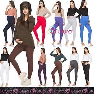 COTONE-INVERNALE-Maternita-Pregnancy-Leggings-Pantaloni-con-Staffa-in-pile-GRA-LS
