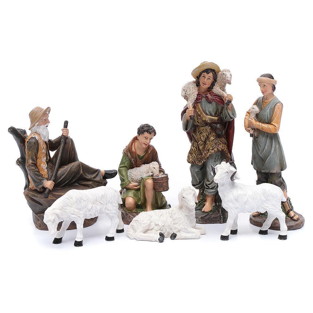 Bergers avec moutons pour crèche en résine 20 cm set 7 pcs