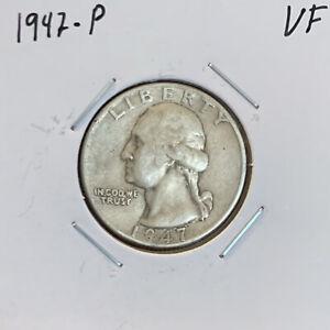 1947-P-Washington-Quarter-VF-Very-Fine-90-Silver