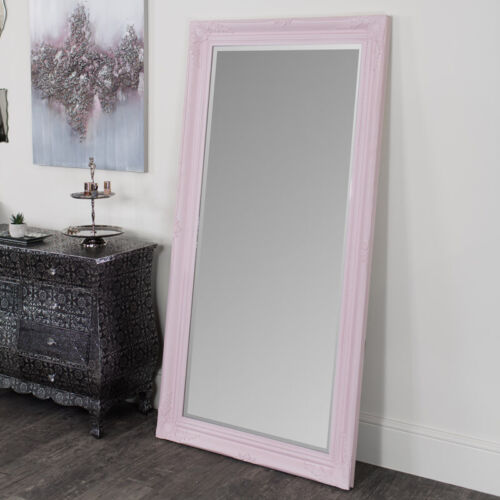 Large Pink Ornate Wall Floor Mirror Leaner bedroom full length tall glamorous