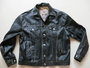 Levi-039-s-Biker-Jacke-Lederjacke-Gr-XL-Echt-Leder-Style-Jeansjacke-TRUE-USED