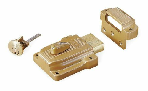"For Door Thickness 1-3//8/"" to 2-1//4/"" Yale Brass Rim Lock Heavy-Duty 112"