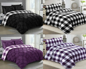 Pintuck-Bedding-Set-Check-Print-Duvet-Quilt-Cover-Double-King-Percale-PillowCase