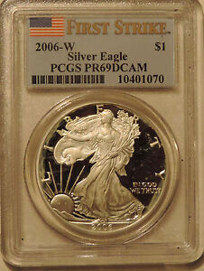 2006-W-Silver-American-Eagle-PCGS-PR69DCAM-First-Strike-near-perfect-ASE-proof