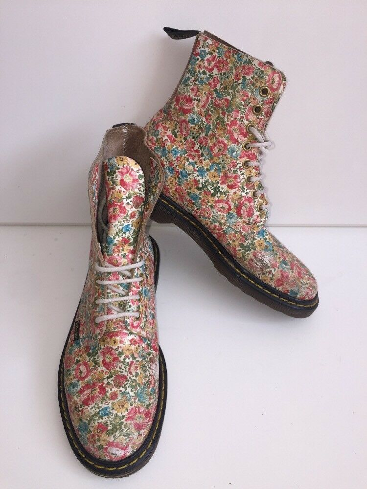 Womens Rare Multi Coloured Floral Dr Martens Boots Uk5 EU38 Made In England