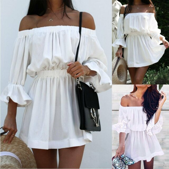 NEW Women Summer Casual Off Shoulder Party Evening Beach Dress Short Mini Dress