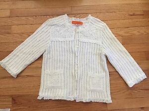 Cynthia-Steffe-Crocheted-Lined-Cardigan-Sweater-White-Size-M-3-4-Sleeve-Ruffled
