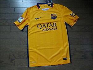 huge discount 6ed65 70069 Nike FC Barcelona Stadium 2015/16 Away Soccer Jersey Mens S Gold 658785 740