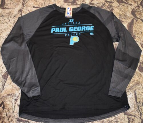Majestic NBA Indiana Pacers Paul George Dri fit Long Sleeve Shirt Size XL
