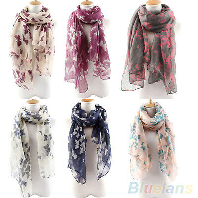 Women Charming Butterfly Print Long Neck Voile Wrap Shawl Pashmina Stole Scarf