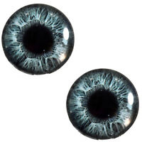 Pair Of 30mm Sparkling Steel Grey Glass Eyes For Jewelry Or Doll Sculptures