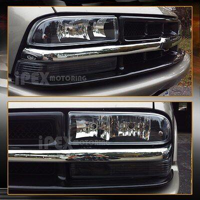 1998-2004 Chevy S10/Blazer Black Headlights Lamps + Bumper Parking Signal Lights