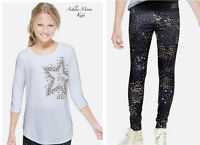 Justice Girls 8 14 White Embellished Gymnast Tee & Graphic Leggings Outfit