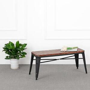 Image Is Loading Rectangle Vintage Industrial Metal Pine Wooden  Bench Kitchen