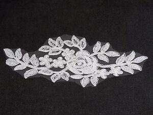 36d602e6b La imagen se está cargando Blanco-Encaje-Floral-Aplique-Vestido-Encaje -Vintage-Motivo-