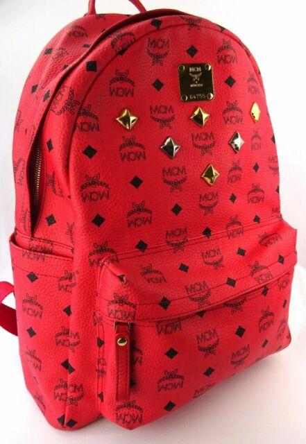 MCM Rucksack Backpack Pink schwarz Nieten gold silberfarben Medium Logoprint