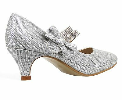 Señoras Wedding Bridal Dama Mid Partido De Fiesta Para Mujer Zapatos Tenis Tacones Tamaño