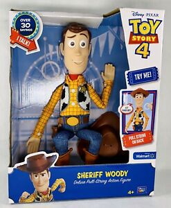 Toy Story 4 Sheriff Woody Deluxe Pull String Talking Action Figure FREE SHIP NEW