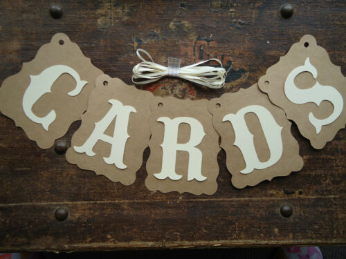 Bunting Banner Flags Garland CARDS Cream Brown Wedding Photo Birthday DIY C5