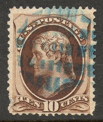 US 10c Jefferson Banknote Fancy Cancel Stamp ex. Hubert Skinner Collection #6
