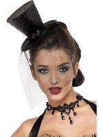 Halloween Black Glitter Black Widow Burlesque Mini Top Hat With Veil Fancy Dress
