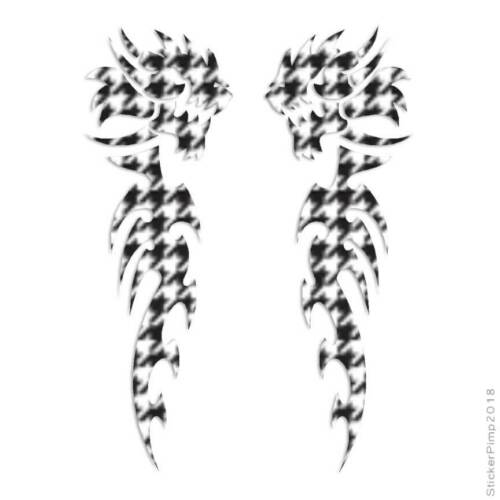 Pair of Tribal Dragons Decal Sticker Choose Pattern Size #224