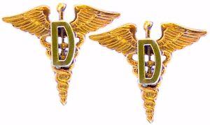 Medical-D-Officer-Collar-Brass-Badge-Pin-Army-Dentist-Uniform-Insignia