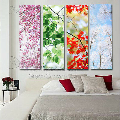 4 Seasons Gorgeous Wall Art On Museum Quality Canvas Prints Set 96x70cm FRAMED