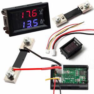 LED-Blue-Red-Dual-Digital-Voltage-Amp-Meter-DC-100V-10A-50A-Voltmeter-Ammeter
